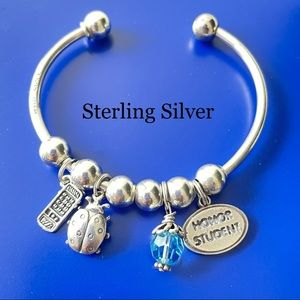 CHARM BRACELET STERLING SILVER BEAD BALL 925